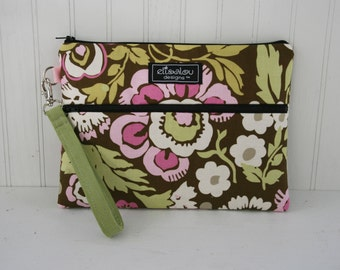 Kindle / iPad Mini / Nook / eReader / Padded Pouch / Bag / Wristlet- Deco Rose