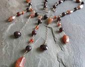 Gemstone Necklace - Garnet and Sunstone - Gemstone Jewelry - Garnet Necklace - Gemstone Drops - Sunstone Jewelry