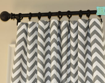 Popular items for grey chevron curtain on Etsy
