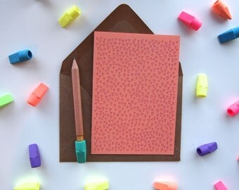 Card: Tiny Hearts - Coral Pink