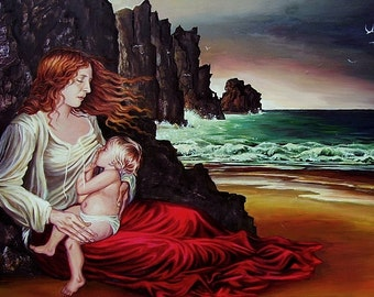 The Lap  5x7 Greeting Card Mythology Breastfeeding Ocean Mother Goddess Art