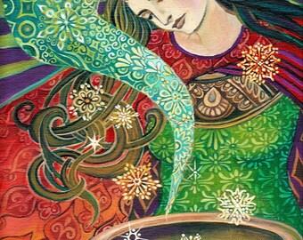 Cerridwen's Cauldron Pagan Psychedelic Art Goddess Art 8x10 Print