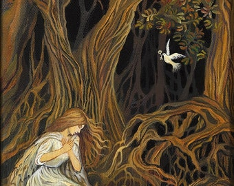 The Key 11x14 Fine Art Print Pagan Mythology Brothers Grimm Fairy Tale Forest Goddess Art