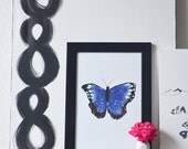 Butterfly Kisses 12x18 Art Poster in Blue