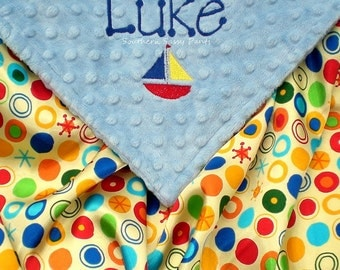Personalized Satin Baby Blanket , Baby Boy Blanket - Sailboat Embroidery , Minky and Satin Blanket