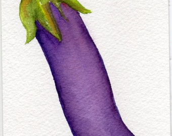 Eggplant Painting Watercolors Paintings Original Vegetable Artwork Kitchen Decor Eggplant Vegetables