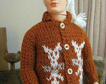 Male Fashion Doll Handknit Cowichan RockabIlly Sweater Set by RETROS