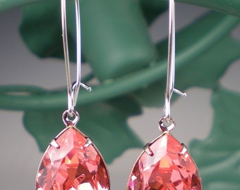 3 Pairs of Rose Peach Rhinestone Earrings Wedding Jewelry Bridesmaid Earrings Swarovski Pink Peach Coral MADE TO ORDER