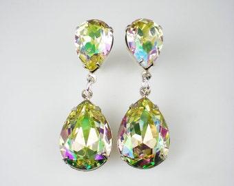 3 Pairs of Rhinestone Earrings Luminous Green Swarovski Yellow Green Lavender Pink Wedding Jewelry Bridesmaid Earrings MADE TO ORDER