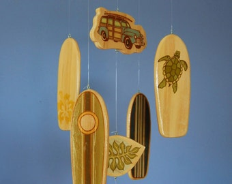 Baby Crib Mobile - Baby Mobile - Surf or Beach Baby Nursery - Woody Car and Surf Boards with Sea Turtle