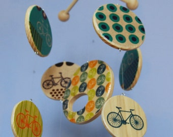 Baby Mobile | Bicycle Mobile | Wood Mobiles | Bicycle Nursery | Bike Baby | Cyclist | Bike Mobile | Bike Nursery | Colorful Bicycles