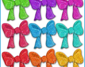 Instant Download, Glitter Bows, PNG Graphics, Clip Art Bows, Glitter Graphics, Glitter Look