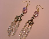Super Sparkly Chandelier Earrings - Aurora borealis crystal beads, dainty goldtone connectors and long dangles of tiny droplet beads