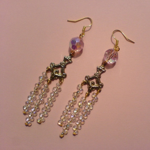 sparkly chandelier earrings by