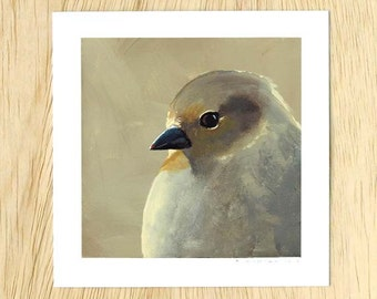 A Financially Unstable Mess, But At The Liquor Store They Call Me Ma'am 5 x 5 Art Print - Bird - Animal - Nature - Giclee - Gift - Finch