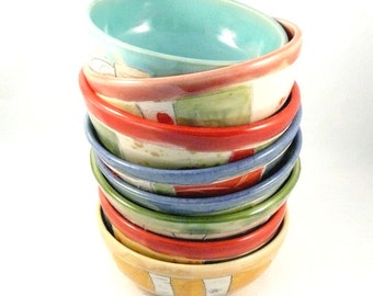 Pastel soup bowls, ceramics and pottery, Wedding Gift, Ceramic Salad bowl, cereal bowl, 9th anniversary gift, artistic vessels kitchen decor