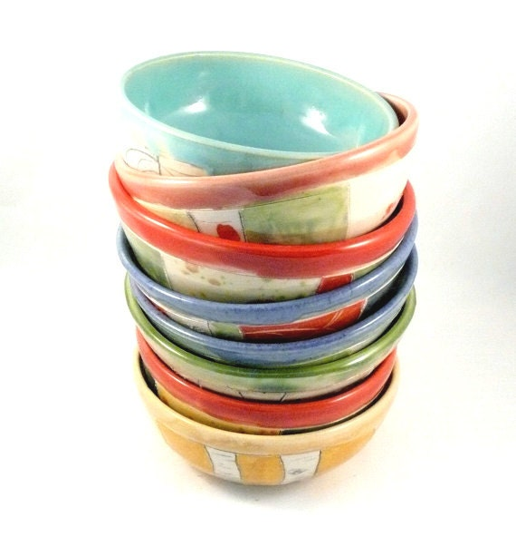 Pastel bowls - Wedding Gift, Ceramic Salad bowl, cereal bowl or soup bowl  -  artistic vessels - kitchen decor -