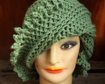 Womens Crochet Hat,  Womens Hat,  Steampunk Hat,  Picot Crochet Beanie Hat,  Sage Hat,  Sage Green Hat,  Lisa Beanie Hat for Women