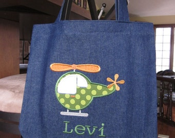 TOTE BAG Helicopter Personalized Toddler or Big Kid Tote