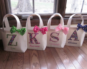 TOTE BAG Custom Designed and Personalized Toddler or Big Kid Tote with Initial and Name