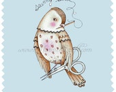 "Bird and Scissors sewing folk art print, ""The Speckled Sewing Bird"""