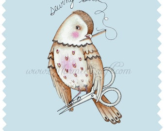 "MarmeeCraft art print, ""The Speckled Sewing Bird"""