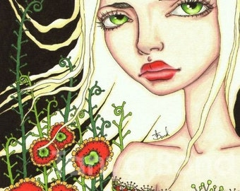 JULY - gorgeous big eyed girl with florals - surreal pop fantasy art - 5x7 print of an original painting by Tanya Bond