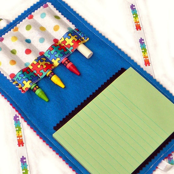 Crayon Wallet & Chalk Mat Art Folio: Puzzle Pieces (Autism Awareness)  - coloring travel toy / travel game - SALE take 20% Off