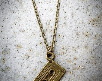 Cassette Tape Necklace - Antiqued Brass - Mixtape