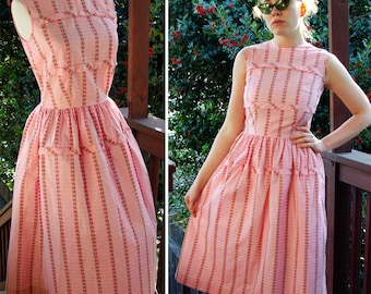 Brentwood 1950's 60's Vintage Sleeveless Pink Cotton Day Dress with Stripes and Flowers size Small