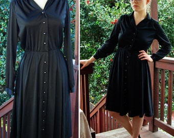 Black PEARL 1970's Solid Black Polyester Button Down Dress size Small