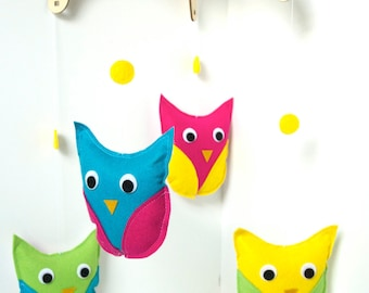Owl Baby Mobile, Girls Nursery Decor in Bright Colors