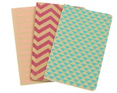 Chevron Triangle Scallops Notebooks Set of 3 Screen Printed Pocket Moleskine Cahier