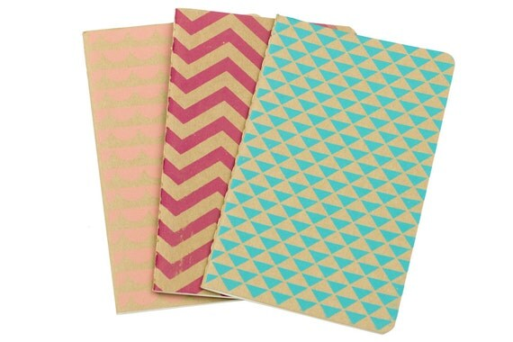 Chevron Triangle Scallops Notebooks Set of 3 Screen Printed Pocket Moleskine Cahier
