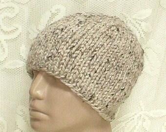Oatmeal tweed beanie hat, skull cap, winter hat, knit hat, toque, ski snowboard, skateboard, mens womens hat, chemo cap, hiking runner biker