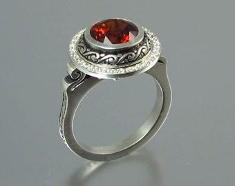 MARIA 14K gold Garnet ring with diamond halo