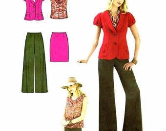 Misses Jacket Top Pants Skirt Simplicity 2422 Sewing Pattern Size 6 - 8 - 10 - 12 - 14 Bust 30 1/2 - 31 1/2 - 32 1/2 - 34 - 36 UNCUT