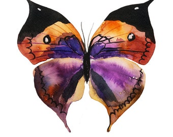 Watercolor violet Papillon butterfly painting - art print - archival fine art