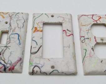 Decorative String Light Switch Plate Covers, handmade paper from recycled T-shirts, eco friendly wall decor-Recycled Handmade Paper