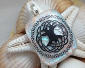 Celtic Tree of Life - Dichroic Fused Glass Jewelry - Pendant - Necklace - Satin Cord - Irish Culture - Dichroic Pendant