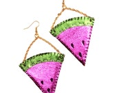 Juicy Fruit Metallic Leather Watermelon Slice Earrings