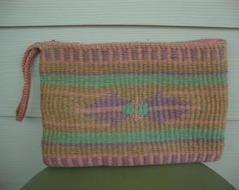 Vintage Tribal Pastel Woven Clutch Wristlet Purse jute sisal SUMMER