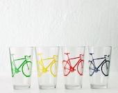 BIKE PARTY GLASSWARE set of 4 screen printed bicycle pints
