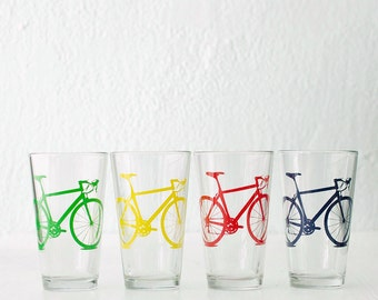 BIKE PARTY GLASSWARE set of 4 screen printed bicycle pints