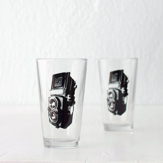 TLR camera, screen printed glasses, set of 4 pint glasses