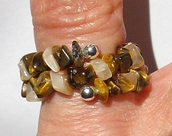 Tiger Eye and Peach Moonstone Ring - R169 Hand-made