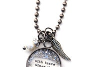 With Brave wings she flies SMALL Charm  Necklace