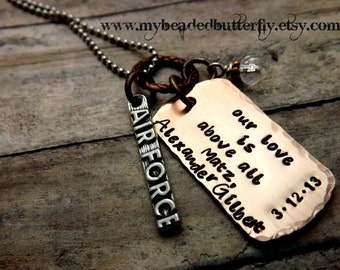 military necklace-handstamped necklace-personalize necklace-army-navy-marines-airforce-coastguard