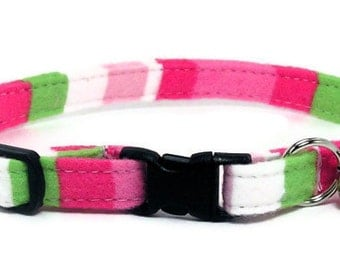 Cat Collar - Pink and Lime Stripes - Breakaway Safety Cute Fancy Cat Kitten Collar