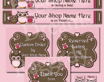 Etsy Banner Set - Premade Etsy Banner - Etsy Shop Banner - SHOP ICON - Shop Profile Photo - Pink Chocolate Owls
